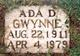 Profile photo:  Ada <I>Denman</I> Gwynne