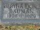 Profile photo:  Bertha May Bauman