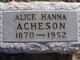 Profile photo:  Alice Brown <I>Hanna</I> Acheson