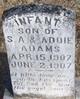Infant Son Of S A & Addie Adams