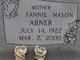 Profile photo:  Fannie <I>Mason</I> Abner
