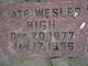 """Laura Catherine """"Kate"""" <I>Wesler</I> High"""