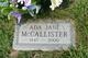 Profile photo:  Ada Jane McCallister
