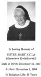 Profile photo: Sr Mary Avila