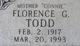 "Florence Goldie ""Mother Connie"" <I>Baber</I> Todd"