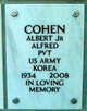 """Profile photo:  Albert Alfred """"Al"""" Cohen, Jr"""