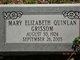 Mary Elizabeth <I>Quinlan</I> Grissom