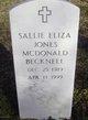 Sallie Eliza <I>Jones/McDonald</I> Becknell