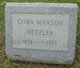 Profile photo:  Cora <I>Manson</I> Hetzler