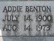Profile photo:  Addie <I>Martin</I> Benton