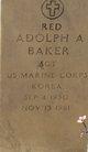 "Profile photo:  Adolph Albert ""Red"" Baker"