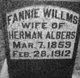 Profile photo:  Fannie <I>Willms</I> Albers
