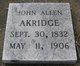 Profile photo:  John Allen Akridge