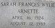 Sarah Frances <I>Wylie</I> Arnette