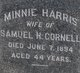 Profile photo:  Minnie <I>Harris</I> Cornell