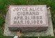 Profile photo:  Joyce Alice Cigrand