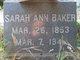 Sarah Ann <I>Miller</I> Baker