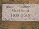 "Profile photo:  Alice ""Johnnie"" <I>Payne</I> Sheffield"