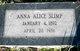 Profile photo:  Anna Alice Slimp