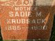Sadie M <I>Wegner</I> Krubsack