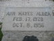 Profile photo:  Ann <I>Hayes</I> Albea