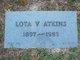 Profile photo:  Lota V <I>Orton</I> Atkins
