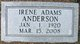 Profile photo:  Irene <I>Adams</I> Anderson