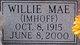 Willie Mae <I>Imhoff</I> Hueske