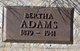 "Profile photo:  Bertha ""Belle"" <I>Bowser</I> Adams"