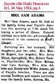 Profile photo: Mrs Dora E <I>Sims</I> Adams