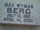 Max Wyman Berg