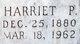 """Harriet Emaline """"Hattie"""" <I>Parks</I> Sisson"""