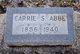 "Profile photo:  Caroline Lucinda ""Carrie"" <I>Spencer</I> Abbe"