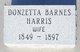 """Donzetta """"Zettie"""" <I>Barnes</I> Harris"""