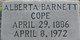 Profile photo:  Alberta <I>Barnett</I> Cope