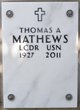 Profile photo: LCDR Thomas A Mathews