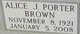 Alice J <I>Refner</I> Porter