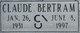 "Profile photo:  Claude Bertram ""Bert"" Irwin"