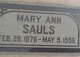 Profile photo:  Mary Ann <I>Terry</I> Sauls