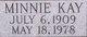 Profile photo:  Minnie <I>Kay</I> Cain