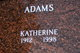 Profile photo:  Katherine M. Adams