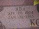 Profile photo:  Ada <I>Vanderwall</I> Koster