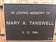 """Mary Ann Yarwood Gaskell """"Yarrie"""" <I>Watson</I> Tanswell"""