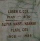 Profile photo:  Alpha Mabel Hannah Pearl <I>Cole</I> Cox