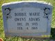 Profile photo:  Bobbie Marie <I>Owens</I> Adams