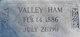 "Profile photo:  Ideal Valentine ""Vallie"" <I>Mathews</I> Ham"