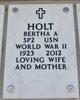 Profile photo:  Bertha Anna <I>Moelchert</I> Holt