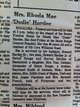 """Mrs Rhoda Mae """"Dodie"""" <I>Smith</I> Hardee"""