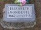 Elizabeth <I>Jarbeau</I> Vondette