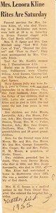 """Mary Lenora """"Nora"""" <I>Jolly</I> Kline"""